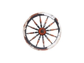 Vintage spinning wheel isolated on white background. Ancient object, brown old wooden wheel. Element of an old disassembled spinning wheel with openwork spokes