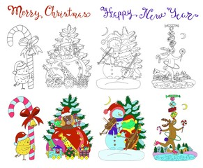 Design vector set with Christmas characters. Hand drawn illustration for poster, greeting card, invitation