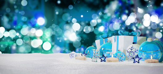 Blue and white christmas gifts and baubles on snow 3D rendering