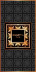 Vintage ornamental luxury background with golden frame. Template for design. Vector illustration