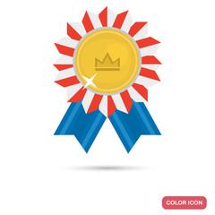 Winner golden medal color flat icon