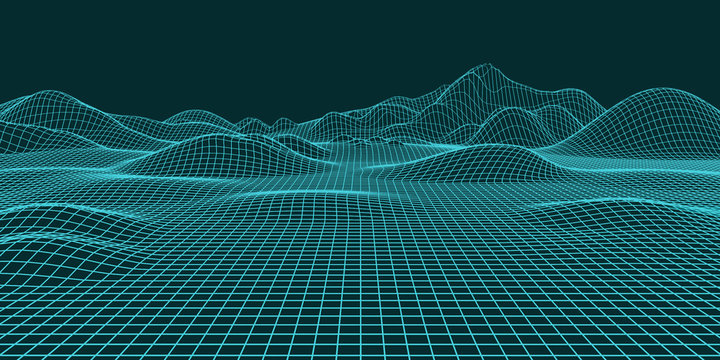 Abstract landscape background. Mesh structure. Polygonal wave wireframe background. 3d rendering