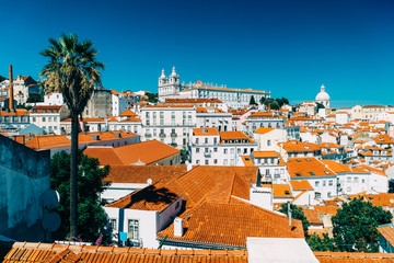 Panoramic View Of Downtown Lisbon Skyline Of The Old Historical City In Portugal