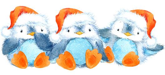 cute penguin watercolor illustration. Christmas card.