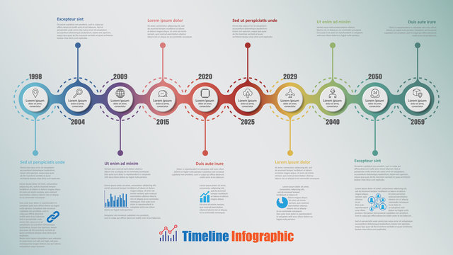 Modern timeline infographic with 10 steps circle designed for template brochure diagram planning presentation process webpages workflow. Vector illustration