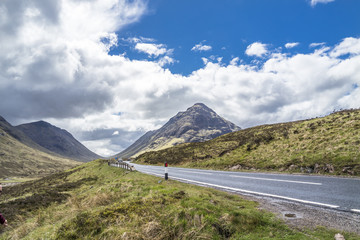 The road to Glencoe in the scottish highlands