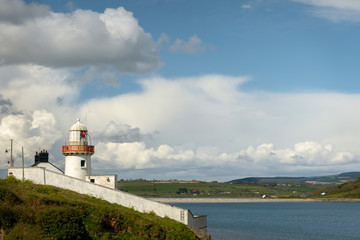Lighthouse at Youghal port County Cork Ireland on bright sunny day