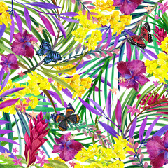 Watercolor tropical nature background. Tropical leaves, flowers and butterfly. watercolor summer floral background