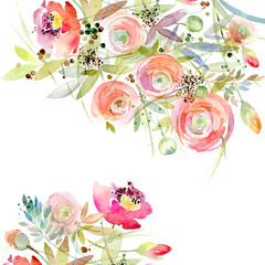 Rose border watercolor illustration.