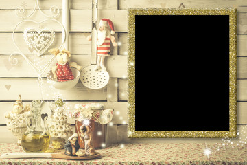 Christmas menu, photo frame or greetings card.