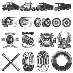 Set of tire service design elements. Truck illustrations, wheels. Design elements for logo, label, emblem, sign. Vector illustration