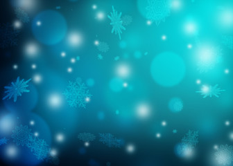 Blurred blue winter background with bokeh and snowflakes. Christmas night. A blizzard and radiance.