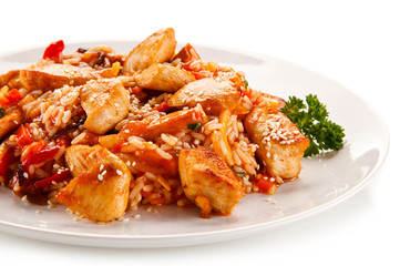 Chicken meat with rice on white background