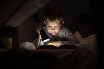 Portrait of cute little boy reading in bed with flashlight in dark room, enjoying fairytales