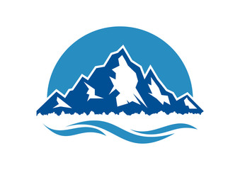 Nature Blue Mountain with Sea Illustration Company Logo Design