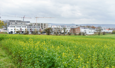 Baustelle für en neues Wohngebiet am Stadtrand