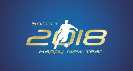 Soccer dribble 2018 Happy New Year gold logo icon blue background