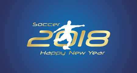 Soccer free kick 2018 Happy New Year gold logo icon blue background