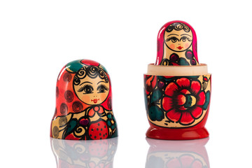Matrioshka or babushkas dolls on a white