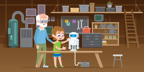Little boy with his grandfather create new lego robot at garage workshop. Family together engineering smart technology toy. Vector illustration.