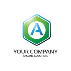 hexa letter - logo template