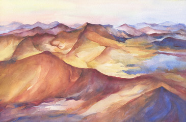 Multicolor mountain landscape peaks on sunset on panoramic view. Beautiful rocks and yellow sand desert, dune of the huge sizes. Watercolor painting illustration isolated on white background.