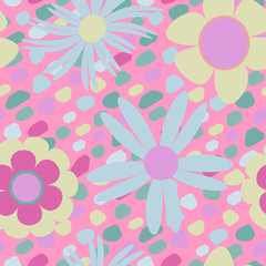 Colorful seamless pattern with cute flowers, vector.