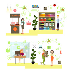 Vector set of people shopping flat symbols, icons