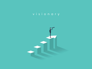 Businessman looking through telescope on top of the column graph. Business concept of goals, success, achievement and challenge.