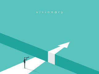 Business visionary vector conept with businessman looking with telescope over gap. Business challenge, future symbol.