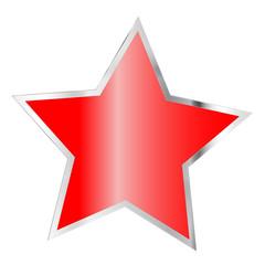 Weihnachten - Rot silberner Stern isoliert auf weiß