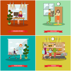 Vector set of purchases concept posters, banners in flat style