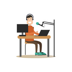 Radio people vector illustration in flat style