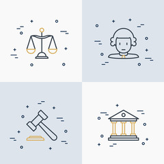 Law and justice thin line icons set: judge, scales, hammer, court. Vector illustration.