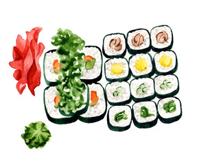 sushi set isolated on white background. Vegetarian rolls with gignger and wasabi watercolor illustration