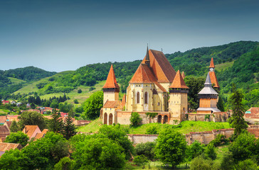 Acrylic Prints Monument Spectacular Transylvanian touristic village with saxon fortified church, Biertan, Romania