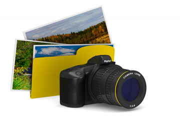 digital camera and folder on white background. Isolated 3D illustration