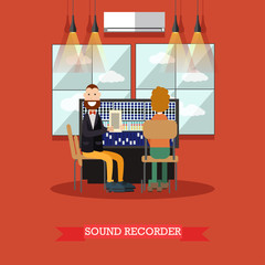 Sound recorder vector illustration in flat style