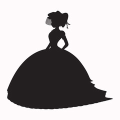 Shadow of a lady in a dress,vector