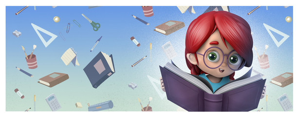 niña con gafas leyendo un libro feliz