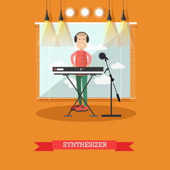 Synthesizer concept vector illustration in flat style