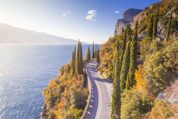 Gardesana Occidentale scenic route, Garda Lake, Brescia province, Lombardy, Italy Wall mural