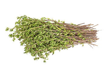 Bunch of fresh organic thyme on a white background, close up