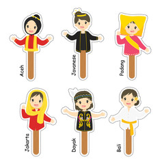 Indonesian female puppet character. cartoon vector, puppet character for story telling.