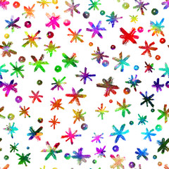 Watercolor Seamless pattern with hand drawn snowflakes. Abstract brush strokes. Ink illustration. Isolated on white background. . New year and Christmas fabric design. Holiday print. Rainbow color