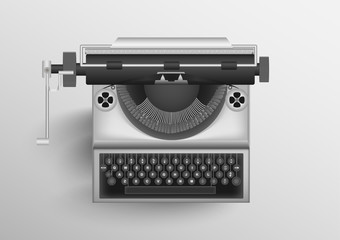 Classic old typewriter with white background. vector EPS10