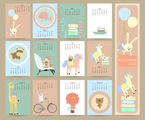 Colorful pastel monthly calendar 2018 with rabbit,whale,book,boat,unicone,balloon,bicycle,bear,giraffe,dog and hippopotamus.Can be used for web,banner,poster,label and printable