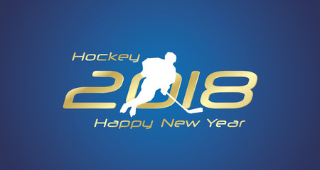 Hockey pass 2018 Happy New Year gold logo icon blue background