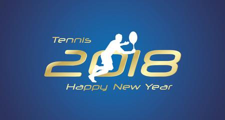 Tennis return 2018 Happy New Year gold logo icon blue background