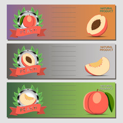 Abstract vector illustration logo whole ripe red fruit peach